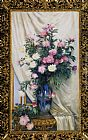 Albert Aublet - Peonies in a Blue Vase on a Draped Regency Giltwood Console Table