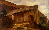 Alexandre Calame - A Farm House On The Side Of A Mountain