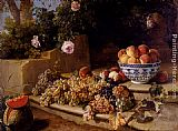 Alexandre-Francois Desportes - Still Life Of Grapes, Peaches In A Blue And White Porcelain Bowl And A Melon, Resting On A Stone Stairway