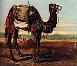 Alexandre-Gabriel Decamps - A Bedouin And A Camel Resting In A Desert Landscape