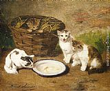 Alfred Brunel de Neuville - Kittens by a Bowl of Milk