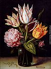 Ambrosius Bosschaert the Elder - A Still Life With A Bouquet Of Tulips, A Rose, Clover And A Cylclamen In A Green Glass Bottle