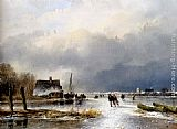 Andreas Schelfhout - A Winter Landscape With Skaters On A Frozen Waterway