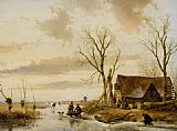 Andreas Schelfhout - A Winter Landscape with Skaters on a Frozen River