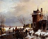 Andreas Schelfhout - Figures With A Horse Sledge On The Ice, A Town In The Distance