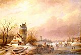 Andreas Schelfhout - Skaters On A Frozen River