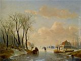 Andreas Schelfhout - Skaters on the ice with a Koek En Zopie in the distance