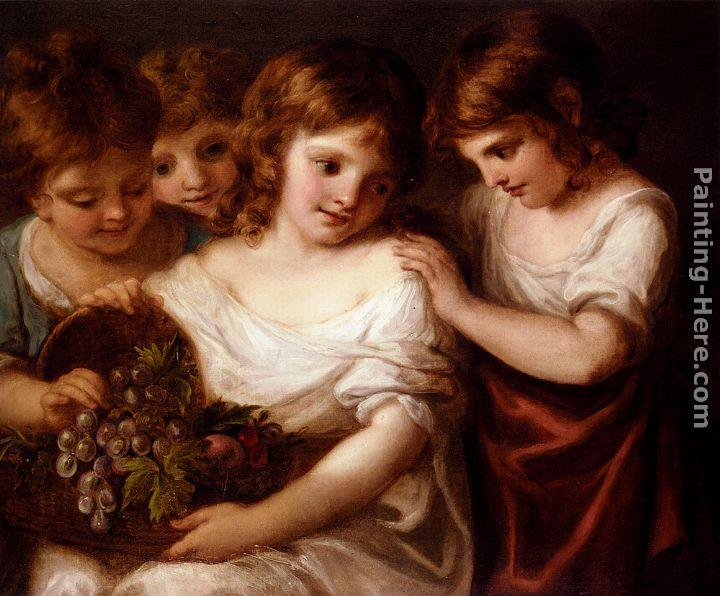 Angelica Kauffmann Four Children With A Basket Of Fruit
