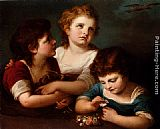 Angelica Kauffmann - Children With A Bird's Nest And Flowers