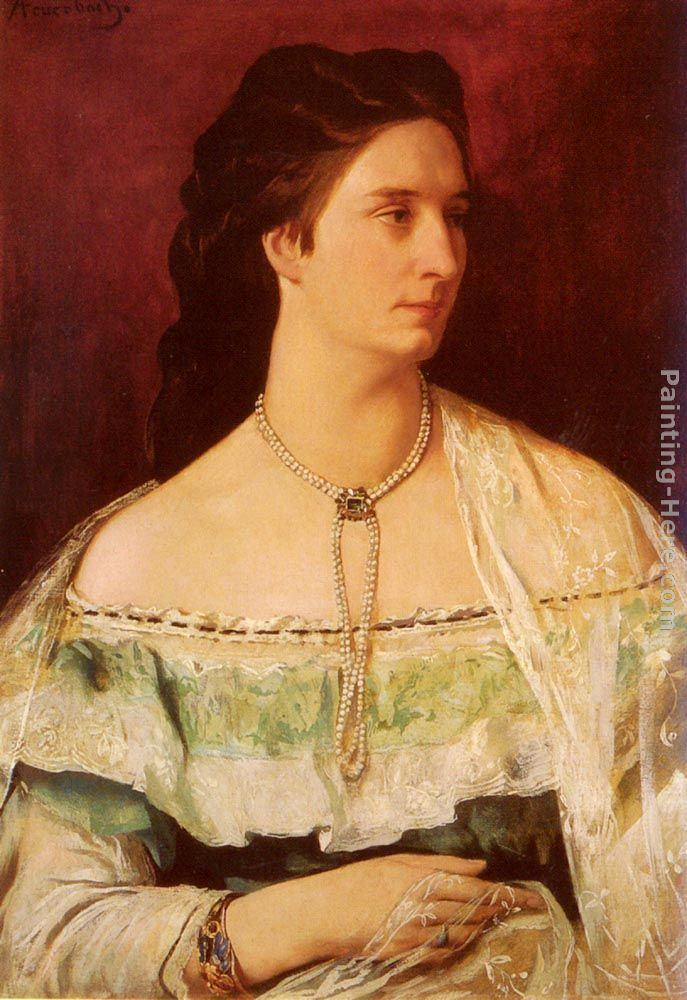 Anselm Friedrich Feuerbach Portrait Of A Lady Wearing A Pearl Necklace