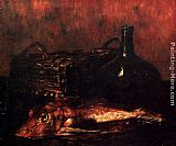 Antoine Vollon A Still Life With A Fish, A Bottle And A Wicker Basket painting