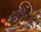 Antoine Vollon - A Still Life with a Basket of Flowers, Oranges and a Fan on a Table