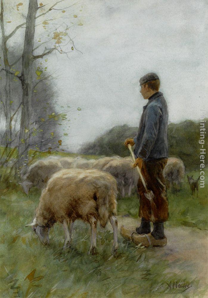 Anton Mauve A Shepherd and His Flock