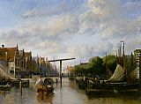 Antonie Waldorp - A Busy Canal in a Dutch Town