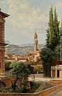 palazzo Canvas Paintings - View of the Palazzo Vecchio in Florence