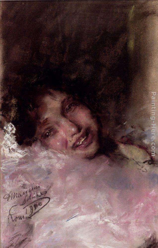 Antonio Mancini A Young Girl Laughing