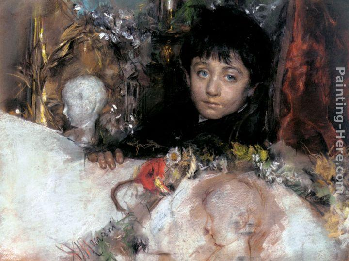 Antonio Mancini Portrait Of A Young Boy