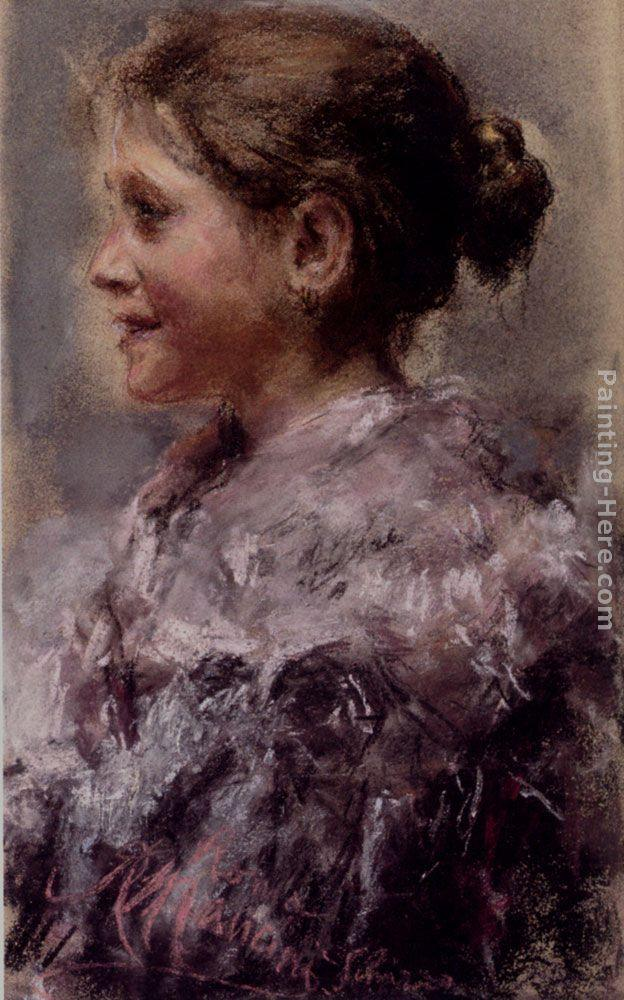 Antonio Mancini Portrait Of A Young Girl