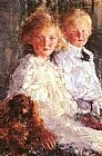 Antonio Mancini Portrait of Elizabeth and Charles Williamson with their Pet Dog painting