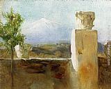 Mount Canvas Paintings - Mount Etna From Taormina