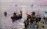 Attilio Pratella Loading The Boats at Dawn painting