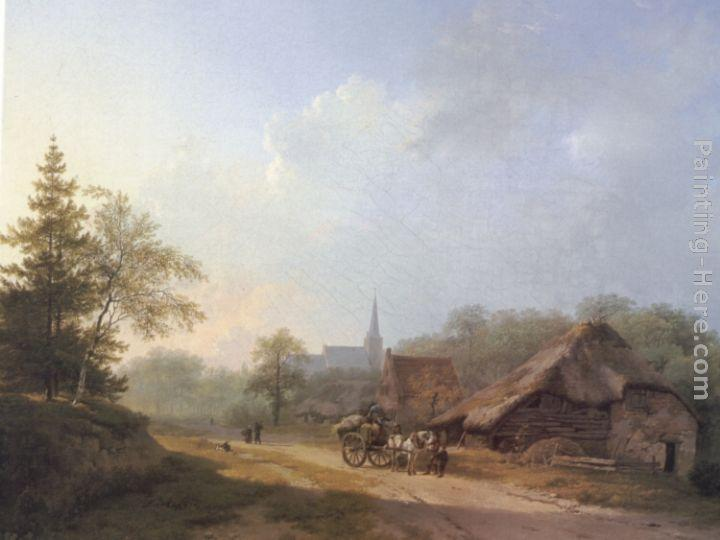 Barend Cornelis Koekkoek A Cart on a Country Road in Summertime