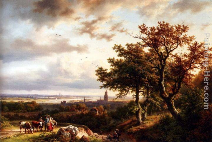 Barend Cornelis Koekkoek A Panoramic Rhenish Landscape With Peasants Conversing On A Track In The Morning Sun