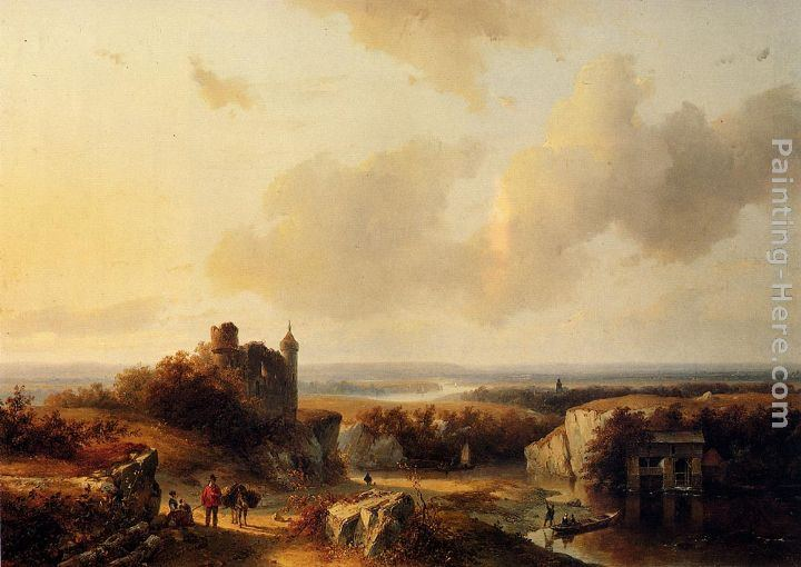 Barend Cornelis Koekkoek AnExtensive River Landscape With Travellers On A Path And A Castle In Ruins In The Distance