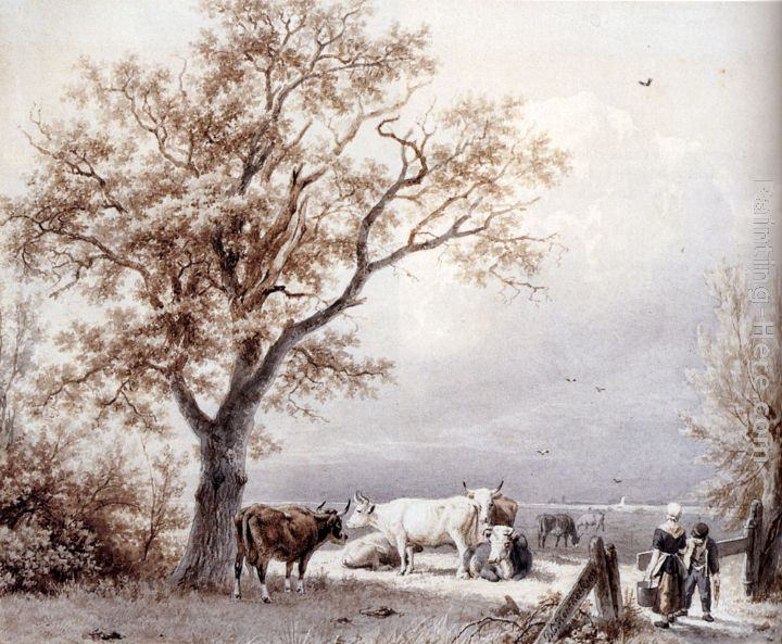Barend Cornelis Koekkoek Cows In A Sunlit Meadow