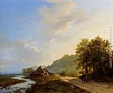 Barend Cornelis Koekkoek A Summer Landscape With Travellers On A Path painting