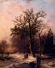 Barend Cornelis Koekkoek Forest In Winter painting