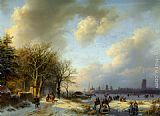 Barend Cornelis Koekkoek - Skaters On A Waterway