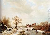Barend Cornelis Koekkoek Winterlandschap A Winter Landscape With Skaters On A Frozen Waterway And Peasants By A Farm In The Foreground painting