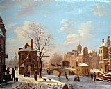 Bartholomeus Johannes Van Hove - A Dutch Town Scene in Winter