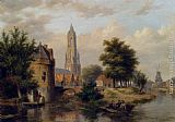 Bartholomeus Johannes Van Hove - View Of A Riverside Dutch Town