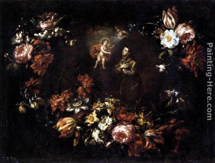 Bartolome Perez Garland of Flowers with St Anthony of Padua