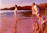 Famous Children Paintings - Children On The Beach At Sunset, Valencia