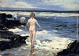 Famous Playing Paintings - Children Playing At The Beach