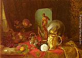 Blaise Alexandre Desgoffe - A Still Life with Fruit, Objets d'Art and a White Rose on a Table