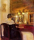 Carl Vilhelm Holsoe - A Lady Playing the Spinet