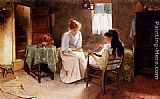 Carlton Alfred Smith - Two Girls In An Interior Winding A Skein Of Wool