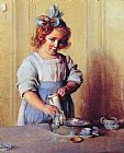 Charles Courtney Curran - Washing Dishes Emily and Her Tea Set