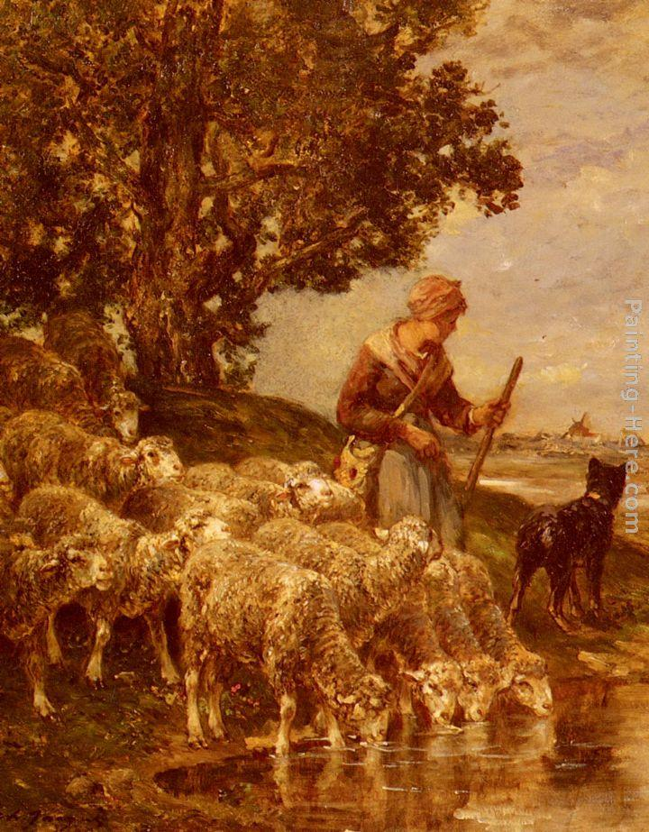 Charles Emile Jacque A Shepherdess Watering Her Flock