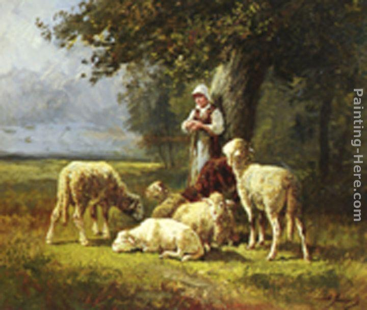 Charles Emile Jacque A Shepherdess With Her Flock In A Woodland Clearing