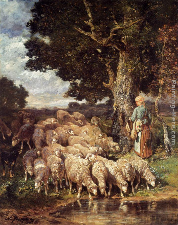 Charles Emile Jacque A Shepherdess with her Flock near a Stream