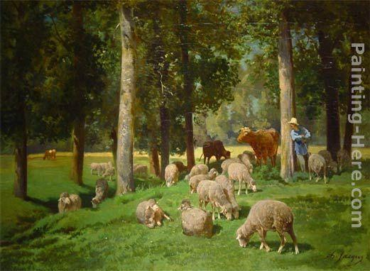 Charles Emile Jacque Landscape with Sheep