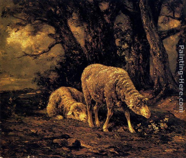 Charles Emile Jacque Sheep In A Forest