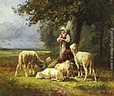 A Shepherdess With Her Flock In A Woodland Clearing