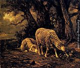 Charles Emile Jacque Sheep In A Forest painting