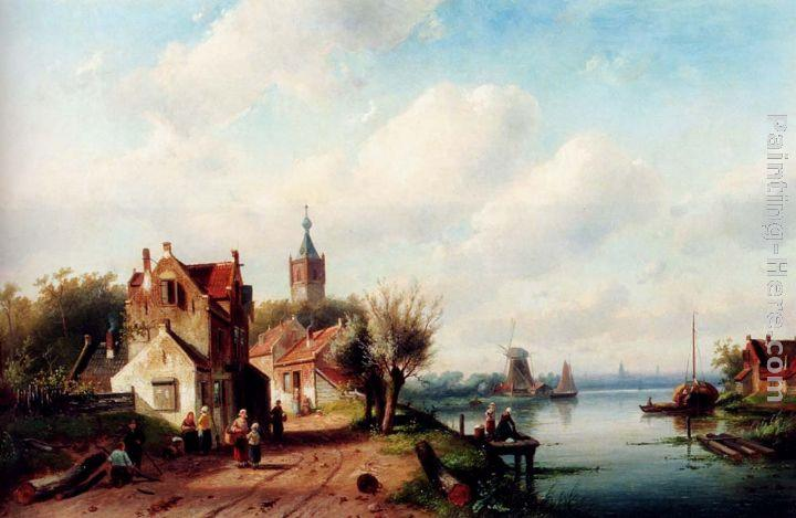 Charles Henri Joseph Leickert A Village Along A River, A Town In The Distance